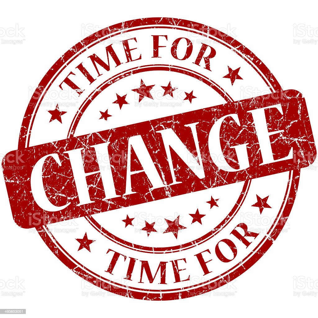 Time for change red round grungy vintage isolated rubber stamp stock photo