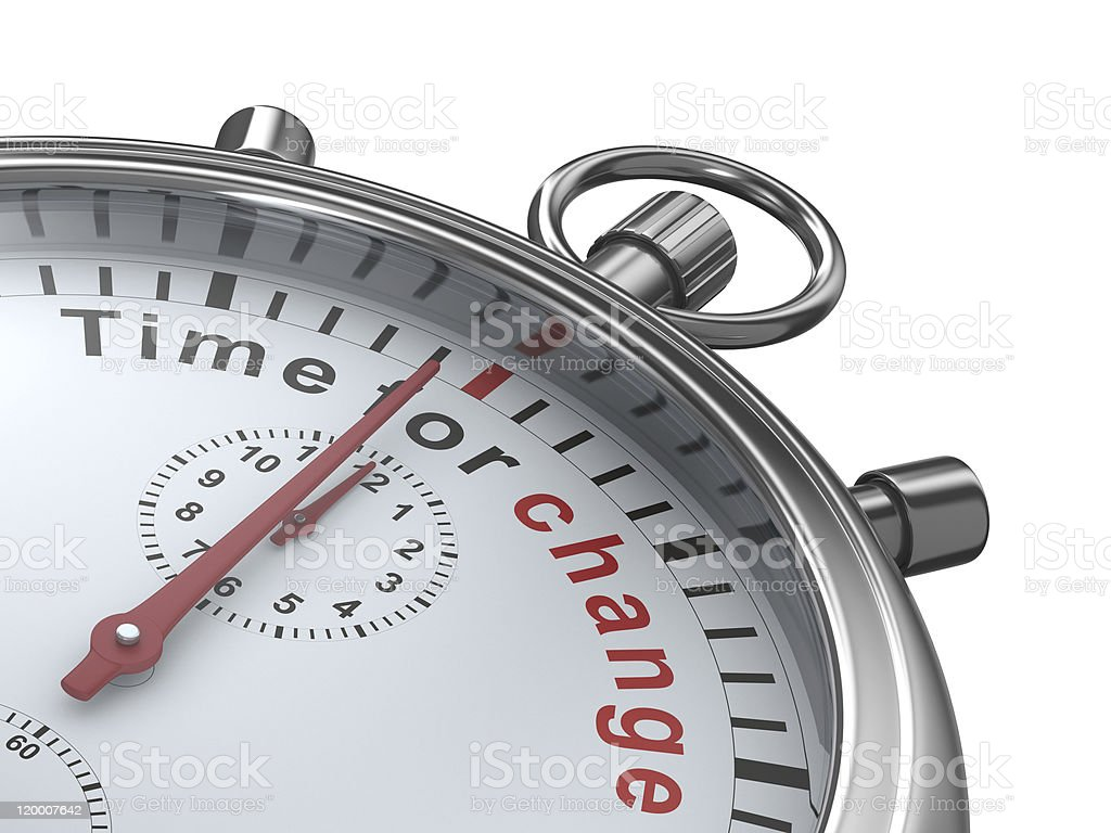 Time for change. Stopwatch on white background. Isolated 3D imag royalty-free stock photo