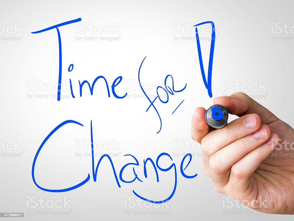 Time for Change written on the Wipe board stock photo