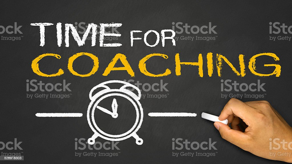 time for coaching on blackboard stock photo