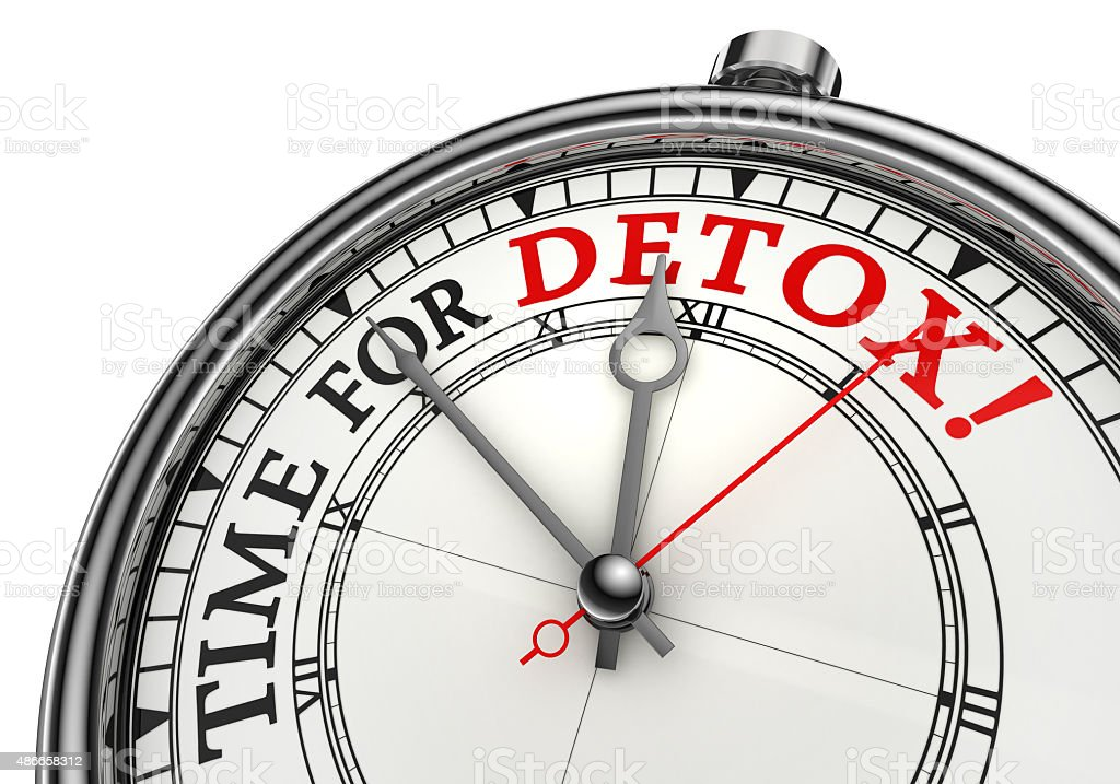 time for detox concept clock stock photo