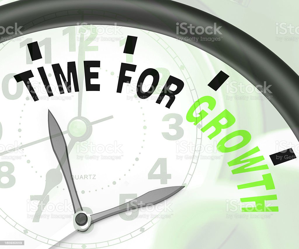 Time For Growth Message Shows Increasing Or Rising royalty-free stock photo