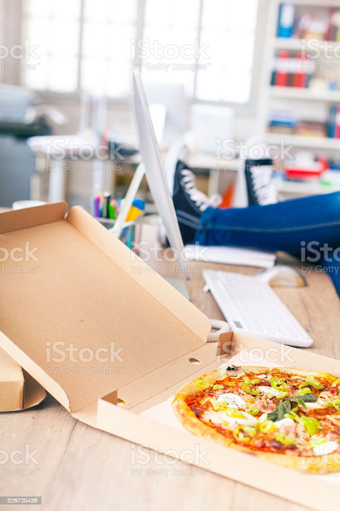 Time for lunch at the workplace stock photo