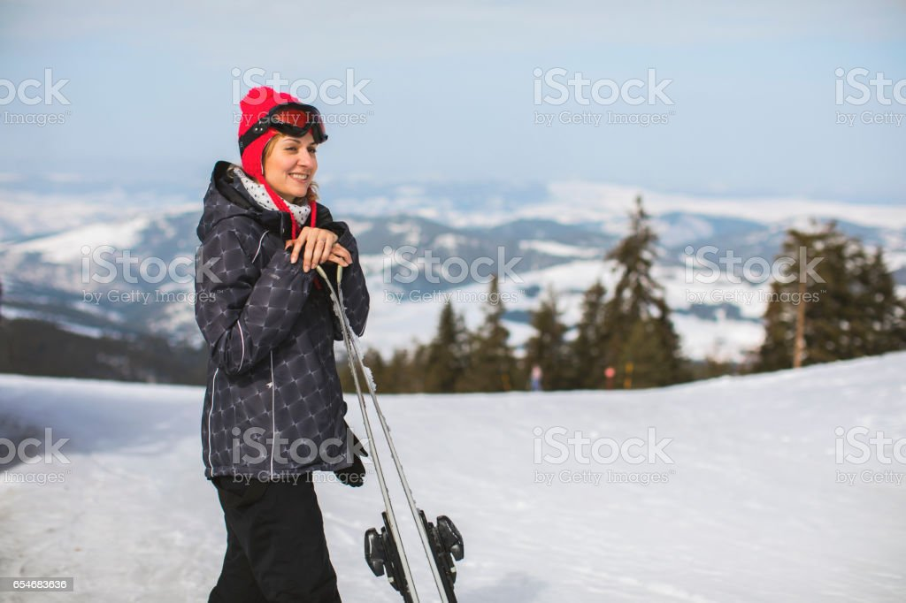 Time for skiing! stock photo
