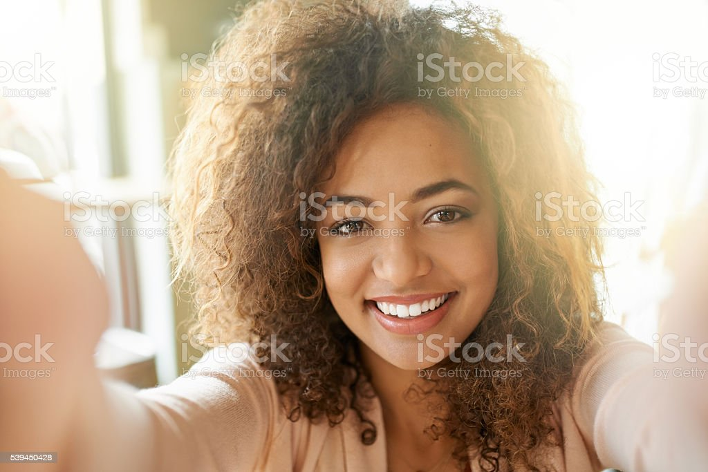 Time for some coffee, but first...a selfie stock photo