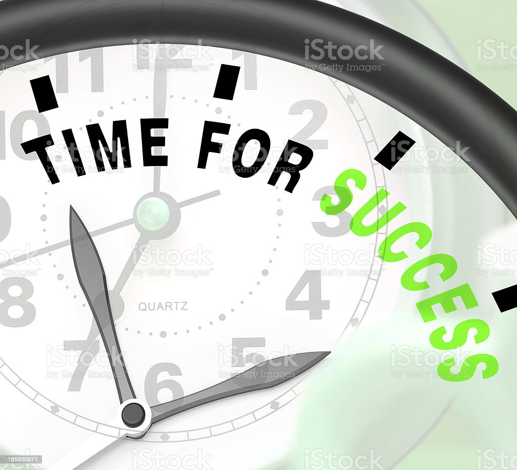 Time For Success Message Shows Victory And Winning stock photo