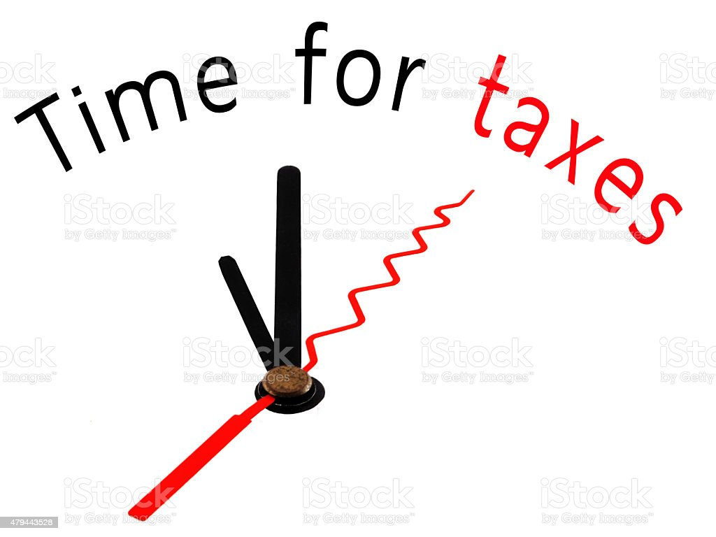 Time for Taxes with clock concept stock photo