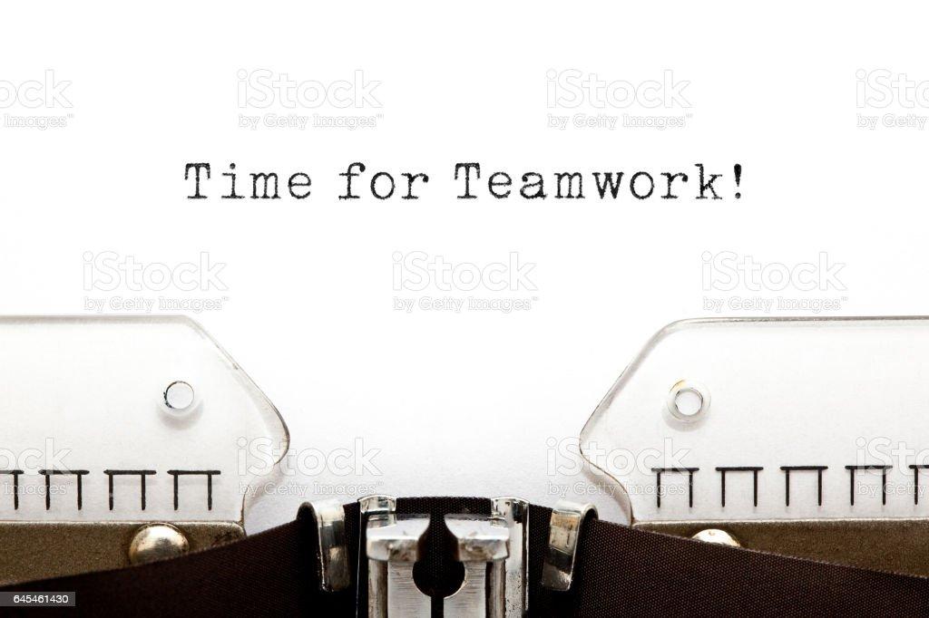 Time For Teamwork Typewriter stock photo