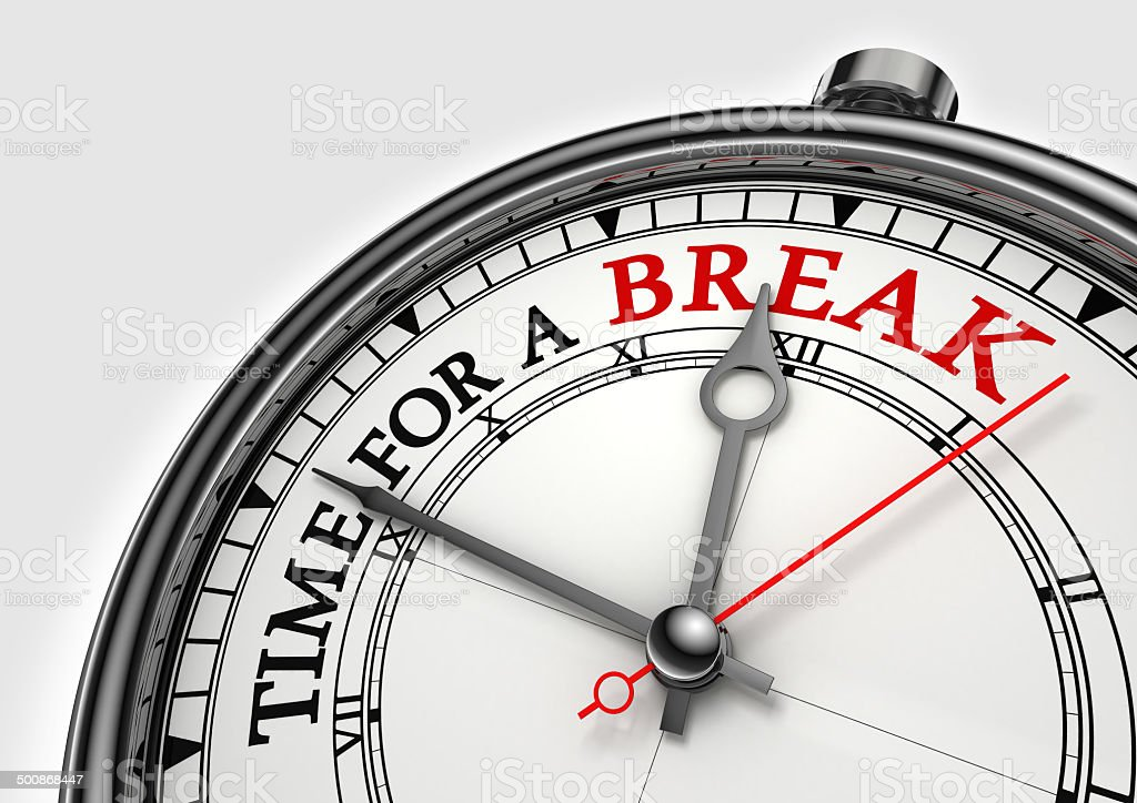 time fora break concept clock stock photo