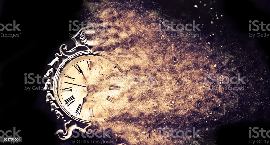 time goes fast with vintage clock stock photo