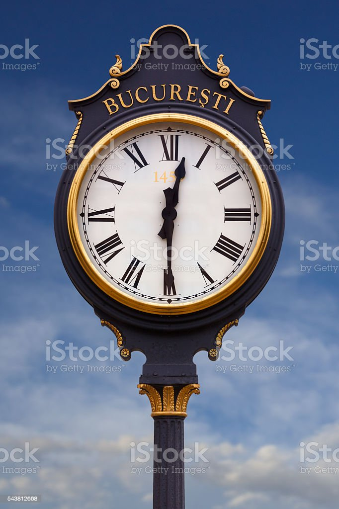 Time in Bucharest stock photo