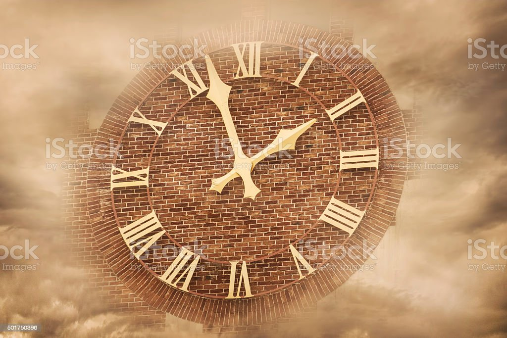 Time in clouds stock photo