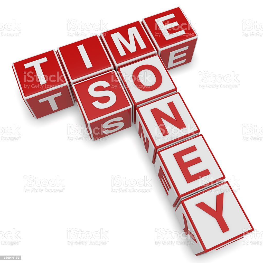 Time is Money crossword stock photo