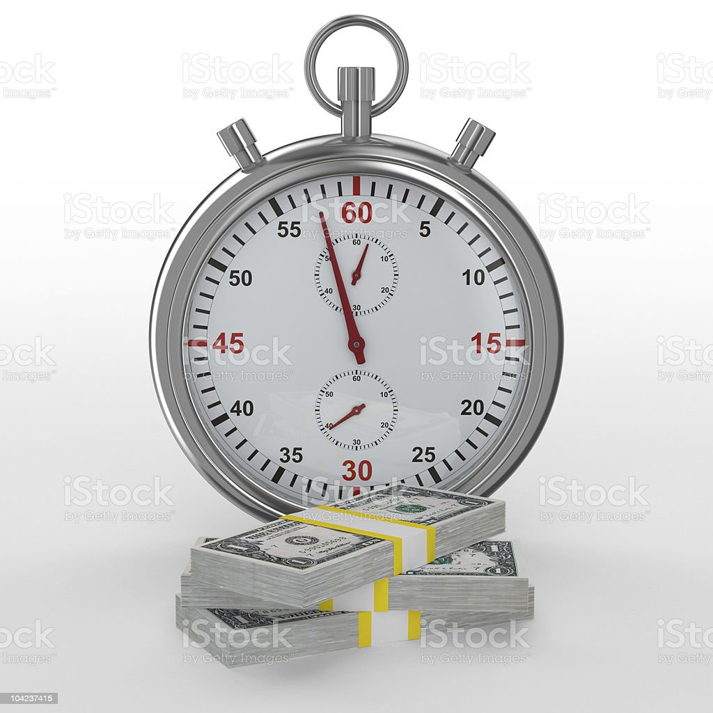 Time is money. Isolated image on white royalty-free stock photo