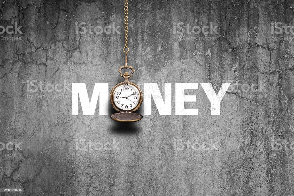 Time is money  on old wall stock photo