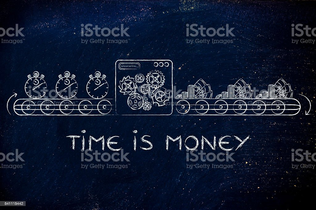 time is money, production line metaphor stock photo