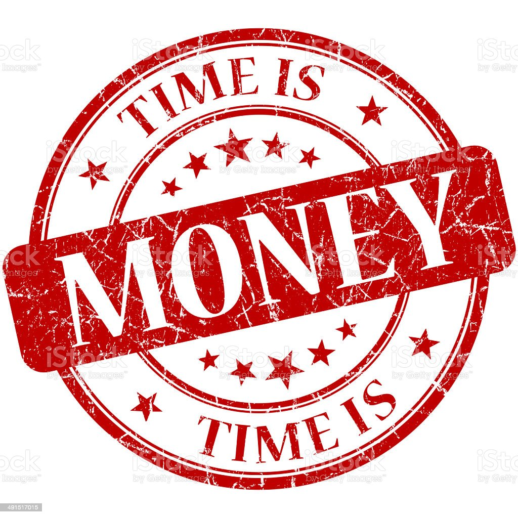 Time is money red round grungy vintage isolated rubber stamp stock photo