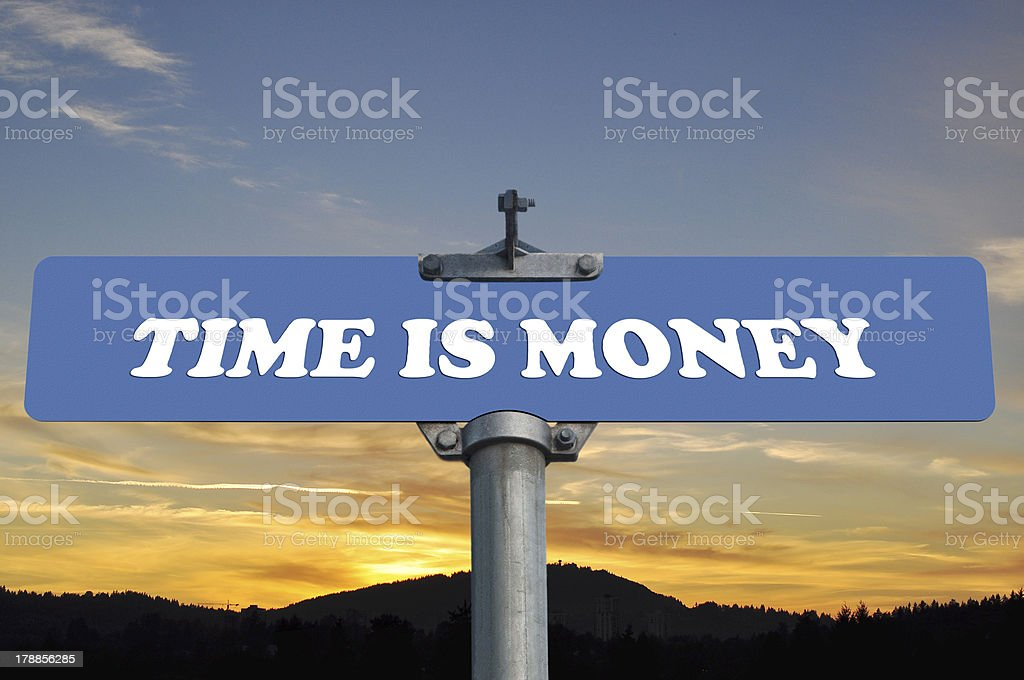Time is money road sign royalty-free stock photo