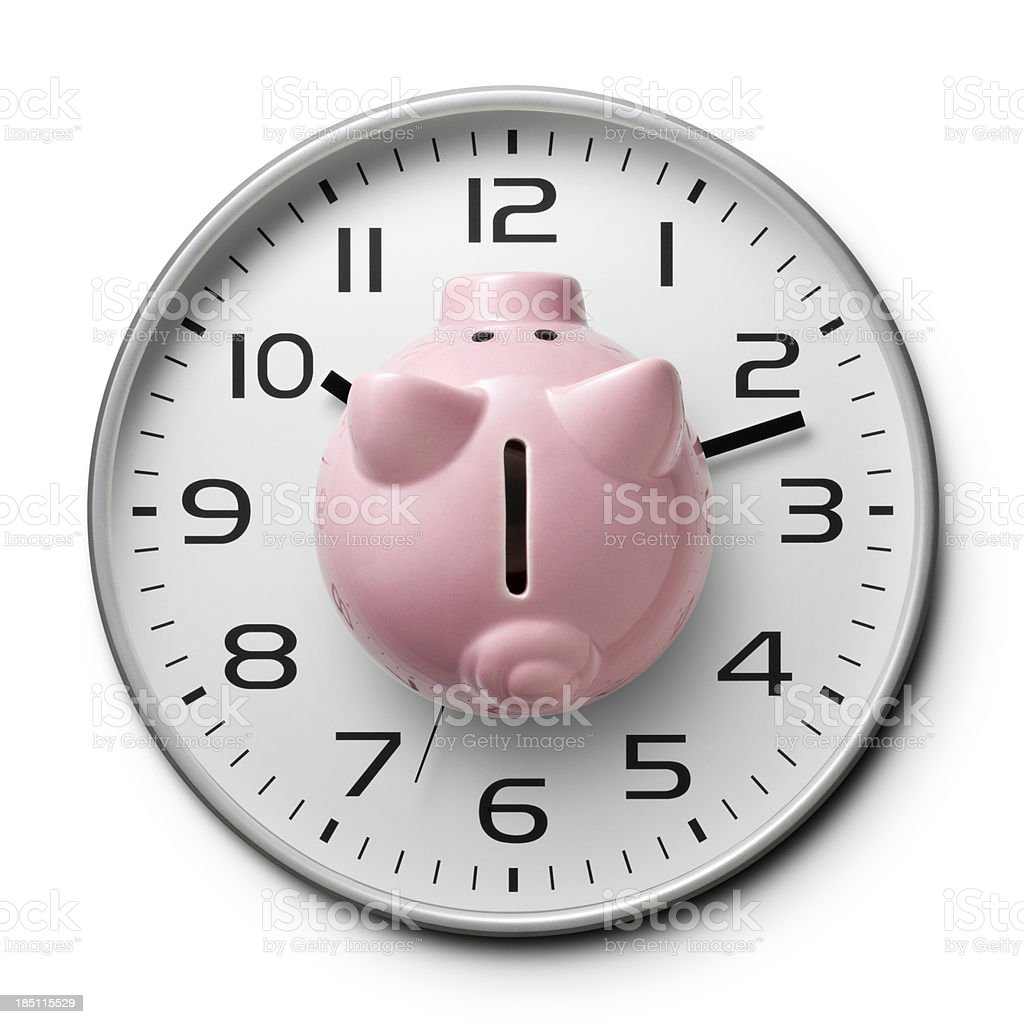 Time Is money. Watch with a piggy bank. royalty-free stock photo
