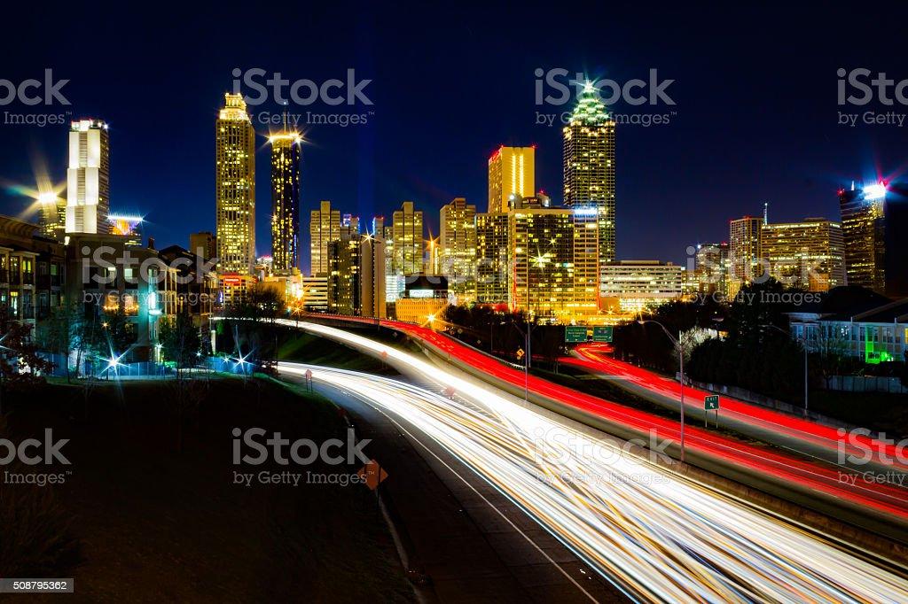 Time Lapse of Atlanta Traffic stock photo