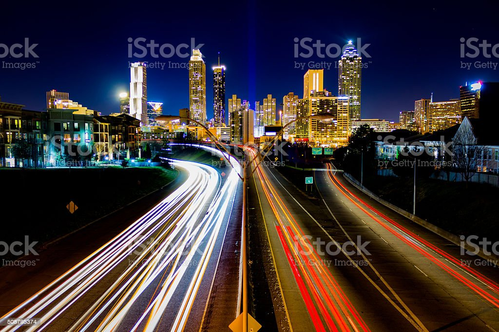 Time Lapse of Atlanta Traffic stock photo