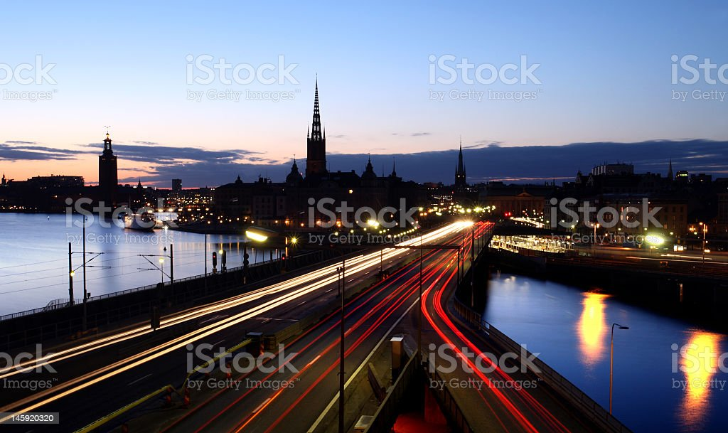 Time lapse of Stockholm skyline at Night  royalty-free stock photo