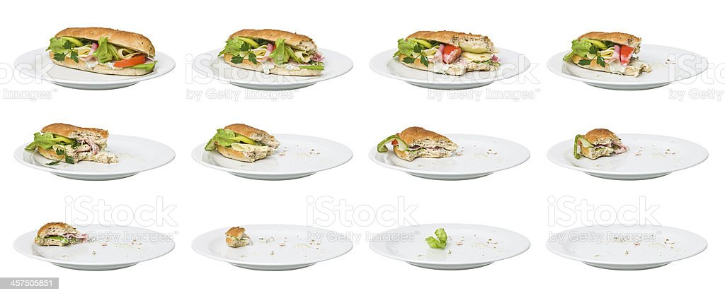 Time Lapse - Sandwich being eaten stock photo