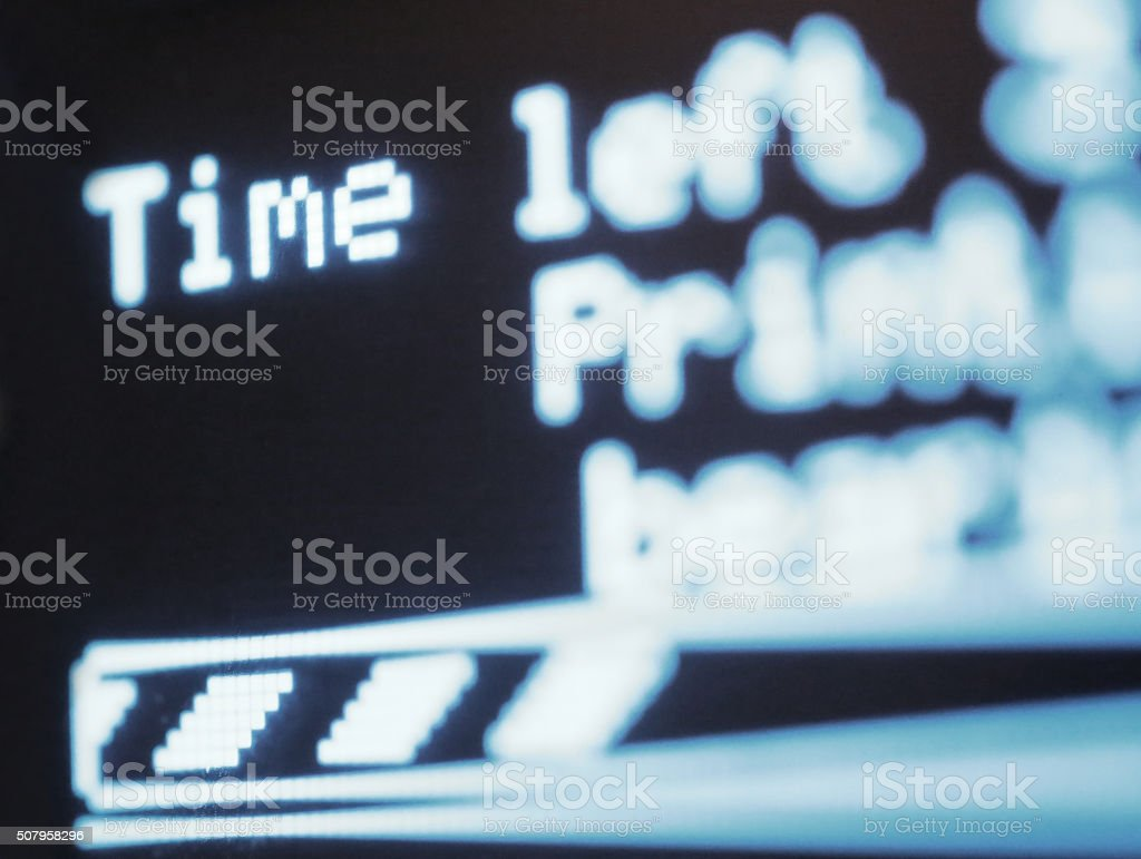 Time left signage with digital numbers stock photo