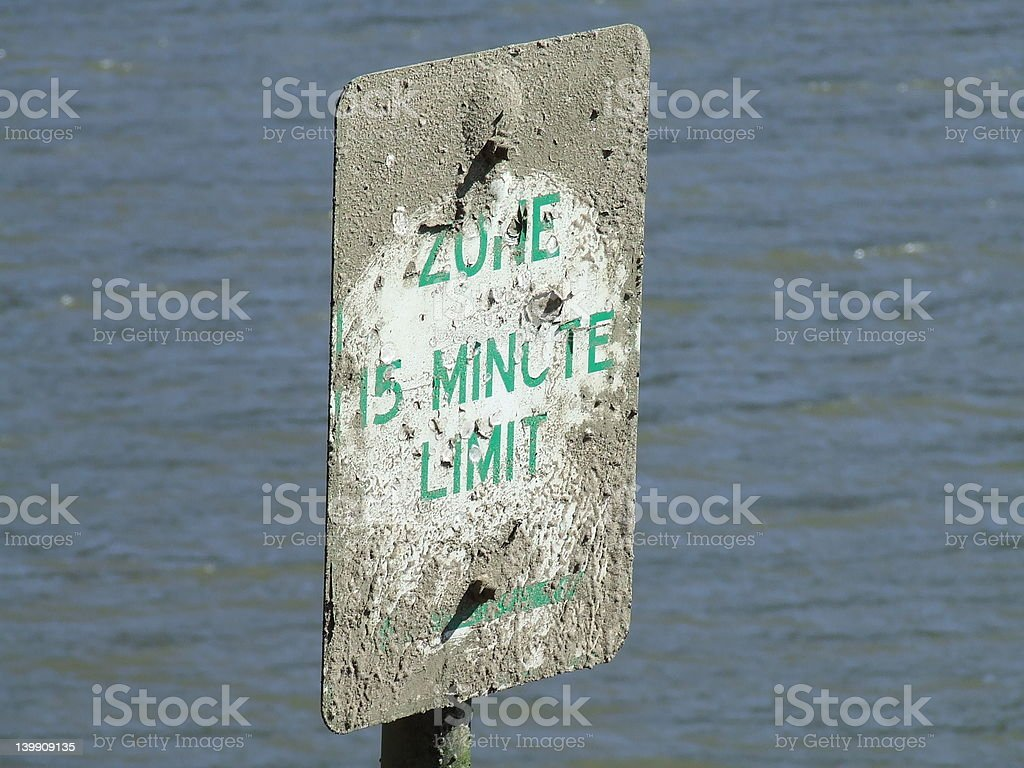 time limit zone sign on water stock photo