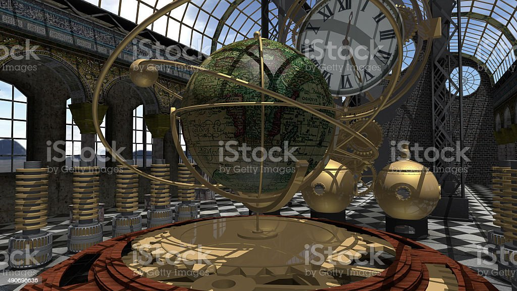 Time machine in Steam Punk style stock photo