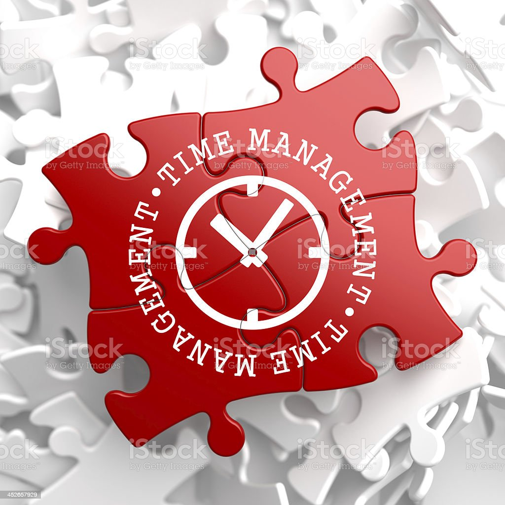 Time Management Concept on Red Puzzle. stock photo