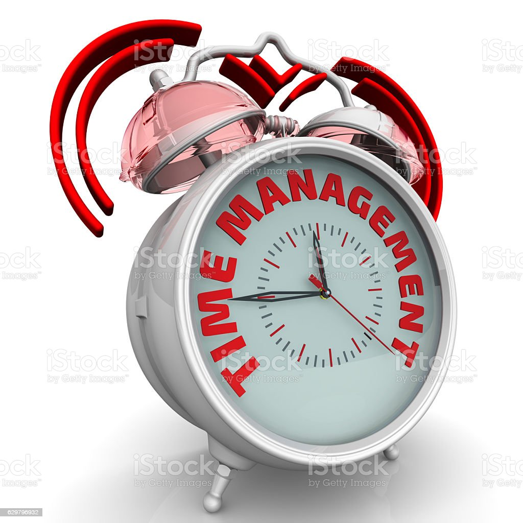 Time management. The alarm clock with an inscription stock photo