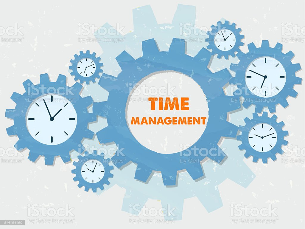 time management with clocks in grunge flat design gears stock photo