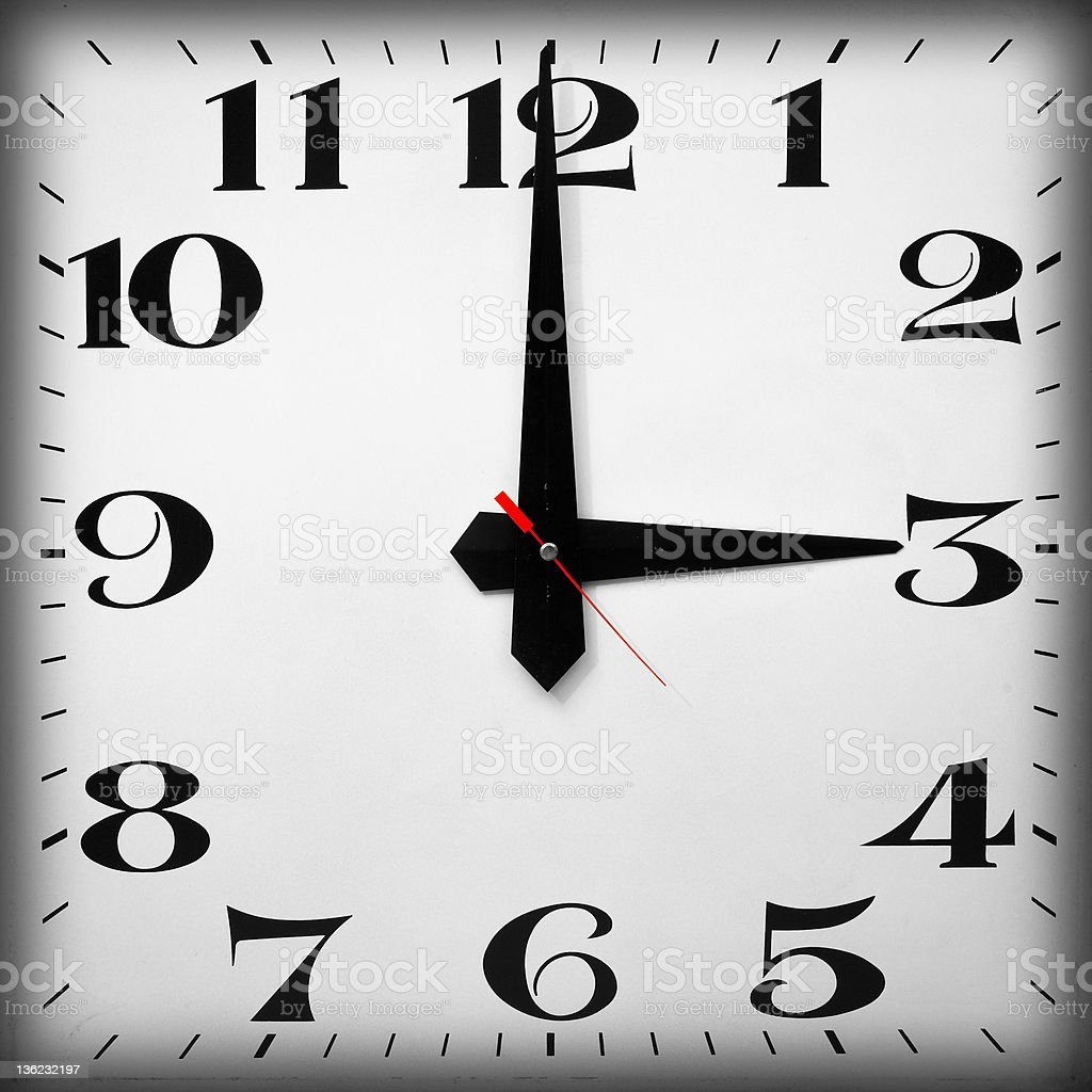 Time of Day, 3 O'clock stock photo