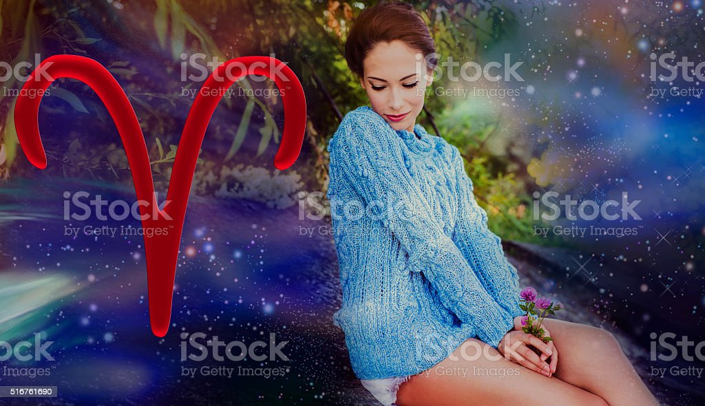 Time of spring zodiac signs, woman aries stock photo