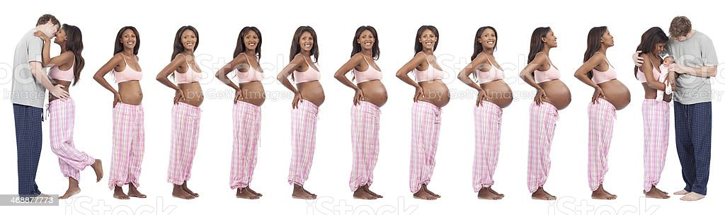 Time period of love, 9 month and birth. stock photo