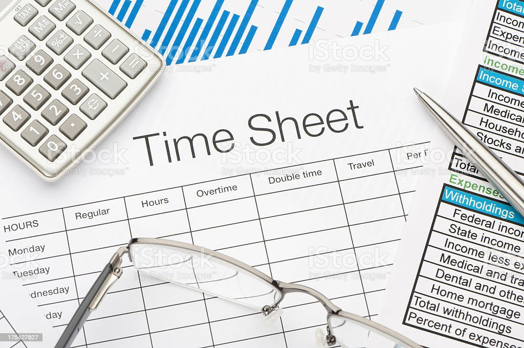 Time Sheet stock photo