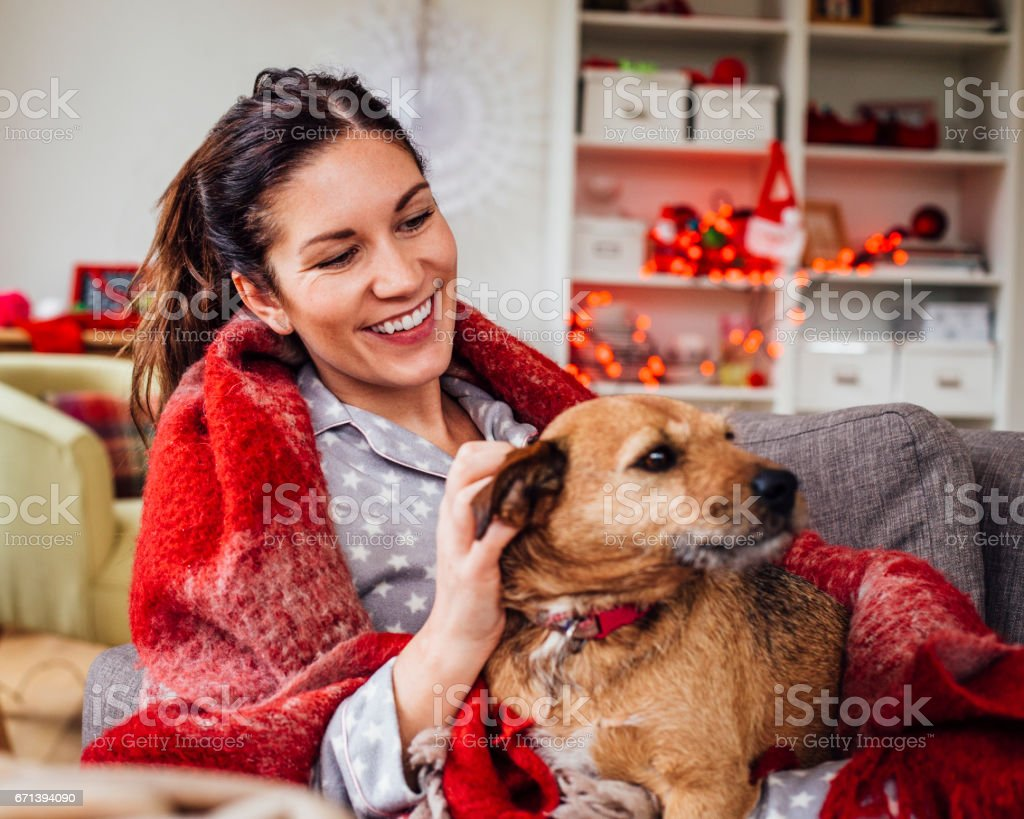 Time Spent with her Pet Dog stock photo