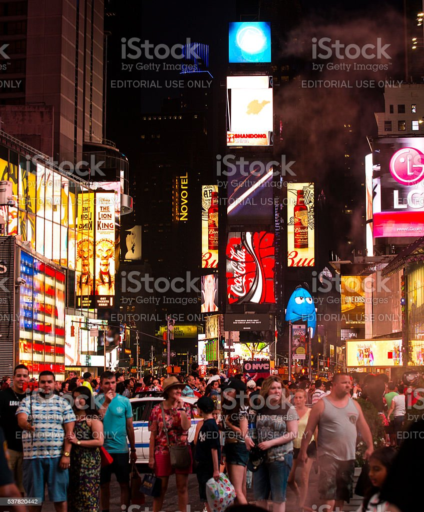 Time Square crowd stock photo