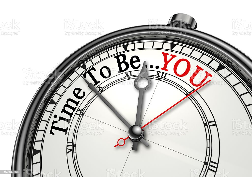 Time to be you red word on concept clock stock photo