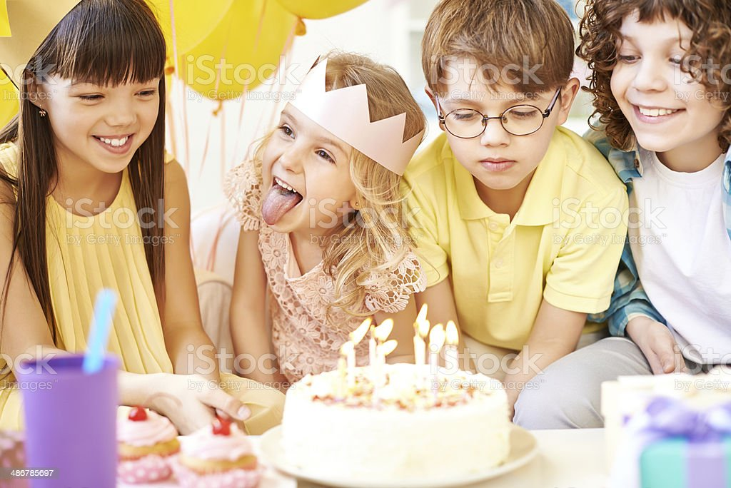Time to blow out candles stock photo