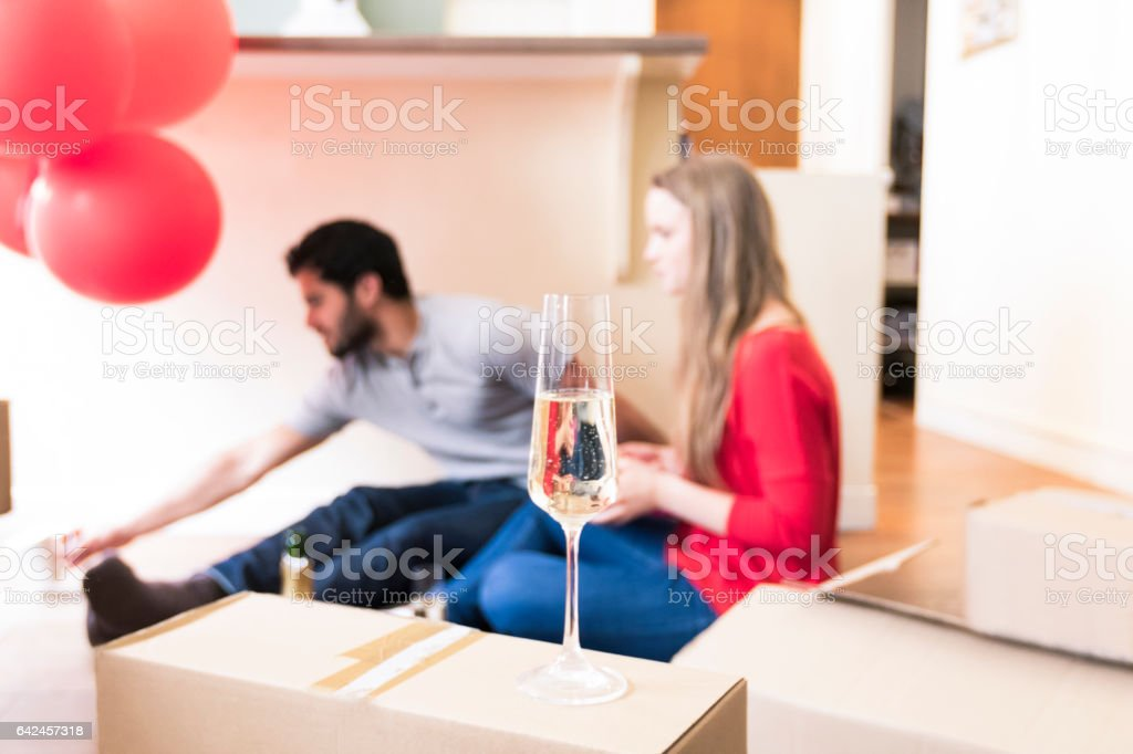 Time to celebrate our new home stock photo