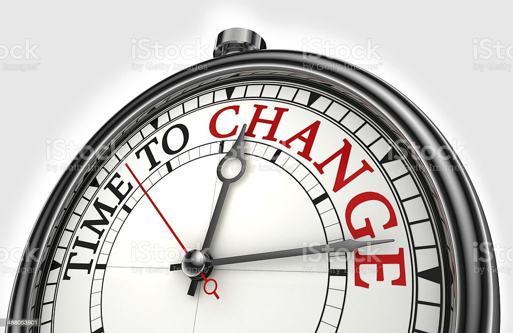 time to change concept clock stock photo