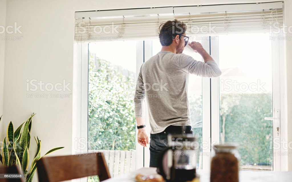Time to contemplate the day ahead stock photo