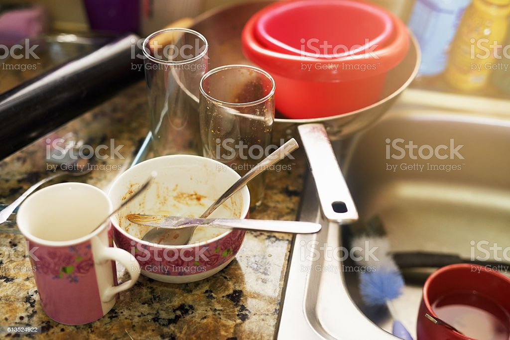 Time to do the dishes stock photo