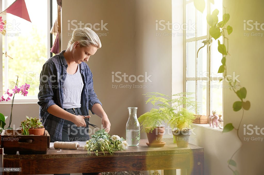 Time to get creative with flowers stock photo