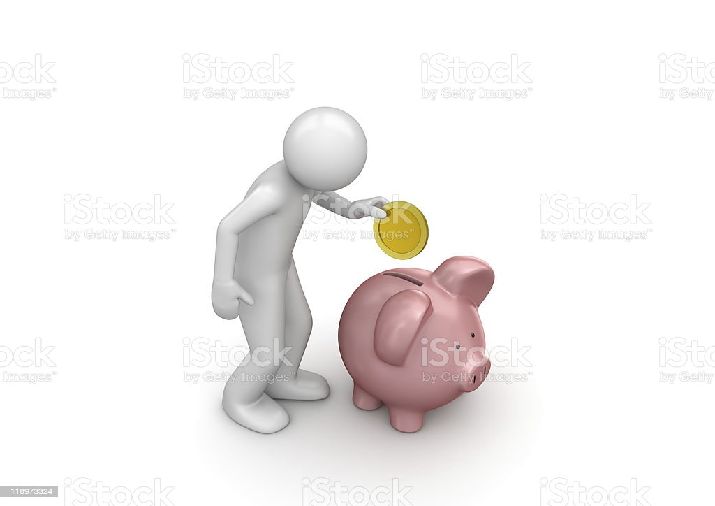 Time to hold your money into kinky piggy bank royalty-free stock photo
