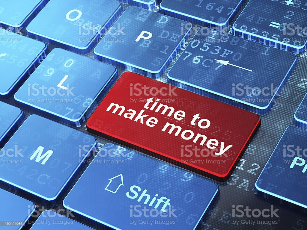Time to Make money on computer keyboard background royalty-free stock photo