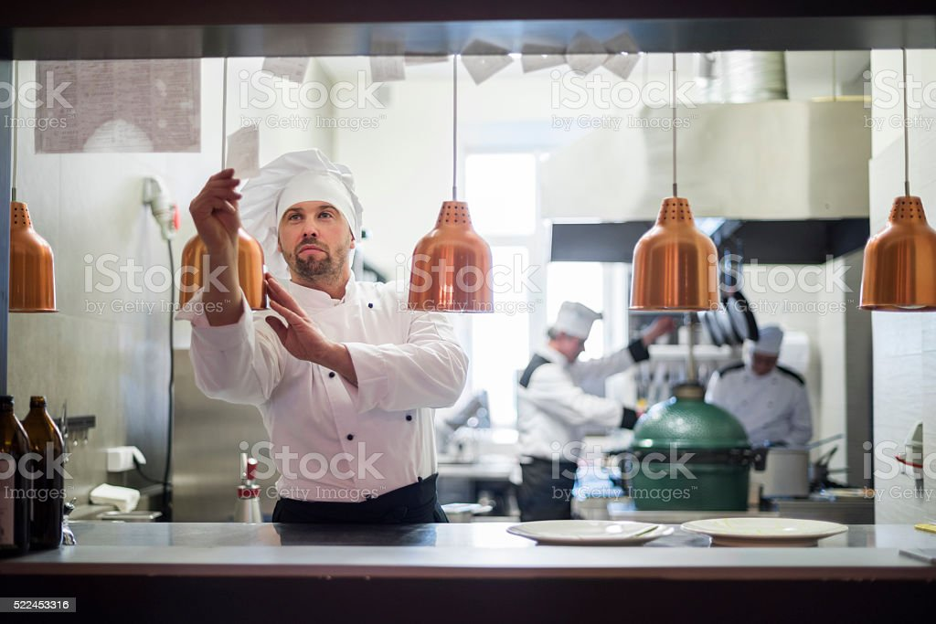 Time to open the kitchen for quests stock photo