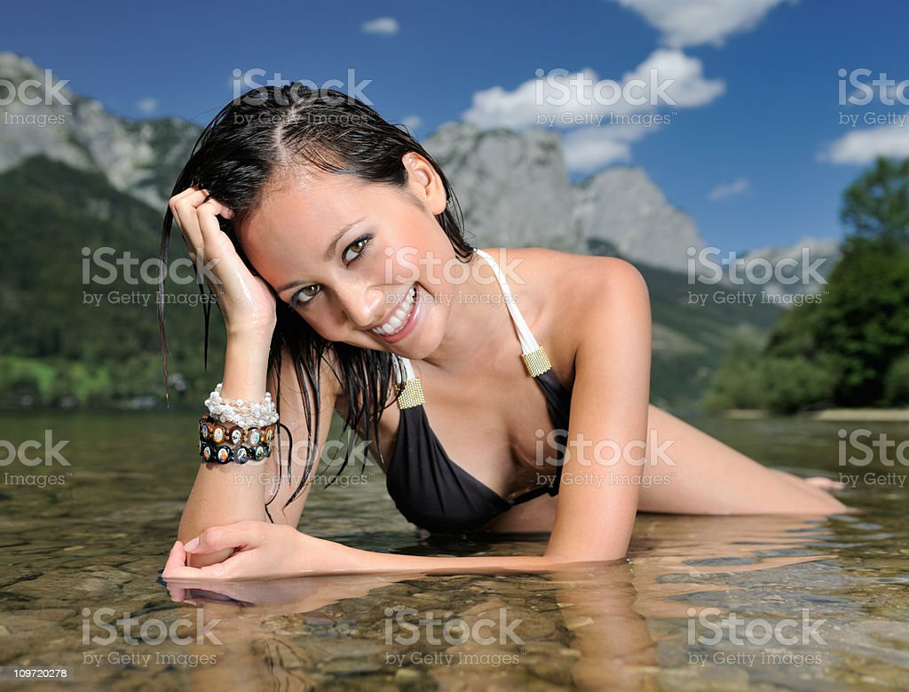 Time to Relax - Refreshing in a Lake (XXXL) royalty-free stock photo